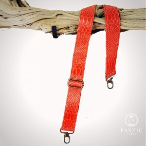 Red Italian Leather Strap For Bags