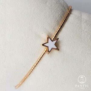 Bracelet White Star Cuff Gold Plated