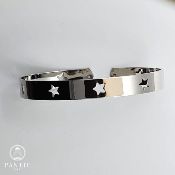 Bracelet Star Cuff Silver Plated