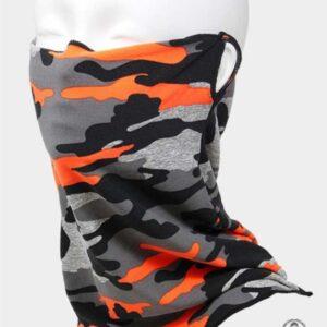 Tube Face Mask Orange Camouflage