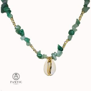 Necklace Green Stones And Shell
