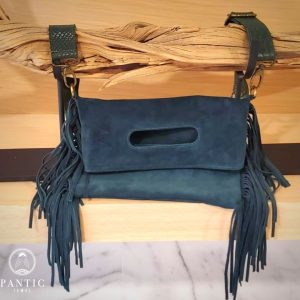 Green Suede Fringes Bag