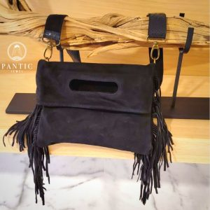 Black Suede Fringes Bag