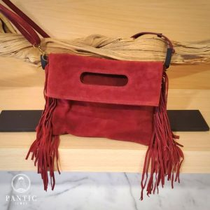 Burgundy Suede Fringes Bag