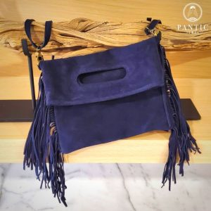 Navy Blue Suede Fringes Bag