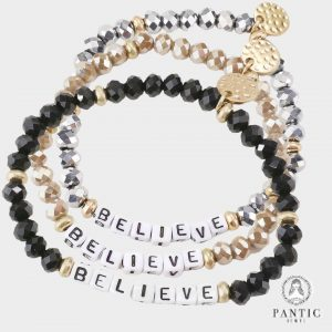 Believe Faceted Beaded Stretch Bracelets